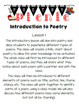 Poetry Picnic-Poetry Unit Grade 2