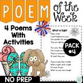 Poem of the Week Activities with Original Poetry Pack 4