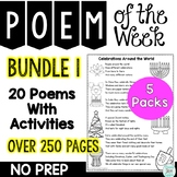 Poem of the Week Bundle 1 Activity Packs 1 to 5 for Shared