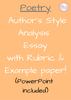 Poetry- Poet Style Analysis WITH POWERPOINT- Freshman