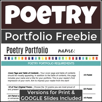 Poetry Portfolio Assignment and Scoring Guide (Free)