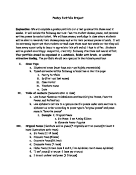 Poetry Portfolio Project Outline with Parent Signature