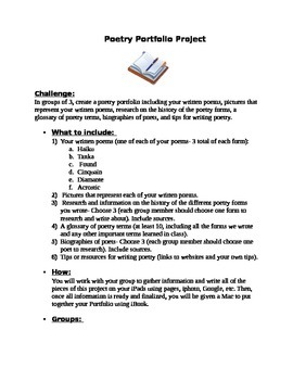 Poetry Portfolio, Poetry Unit End Project, Poetry Journal