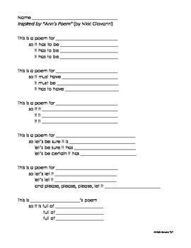 Poetry Possibilities - Ann's Poem