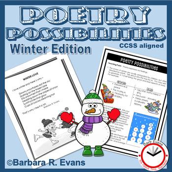 POETRY UNIT: Winter Poetry, Poetry Activities, Poetry Elements, Poetry Writing