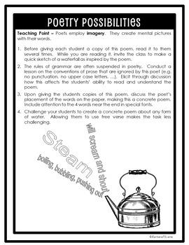 POETRY UNIT: Water Poetry Activities, Poetry Elements, Writing, Poetry Analysis
