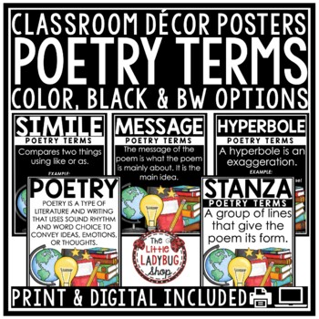 Poetry Posters •  Poetry Terms • Poetry Anchor Charts