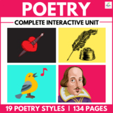 HUGE POETRY UNIT:  4 Full Weeks & 19 Styles of Poetry NO PREP REQUIRED!!