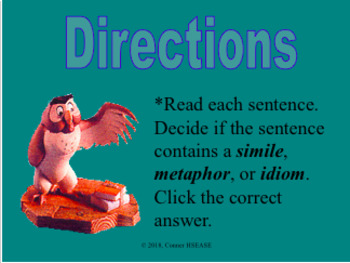 Poetry Practice Game - Similies, Metaphors, and Idioms PPT Figurative Language