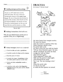 Poetry Practice STAAR formatted questions for Dracula
