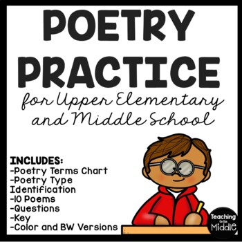 Poetry Practice for Upper Elementary, Middle School, chart, poems, questions