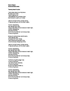 Poetry Project: Analysis of Song Lyrics