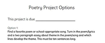 Poetry Project Ideas