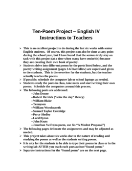 Poetry Project For High School Seniors By Judy Hill Tpt