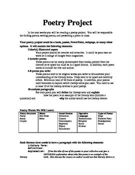 Poetry Project for Learning Literary Terms and Writing Poetry