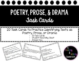 Poetry Prose Drama Task Cards
