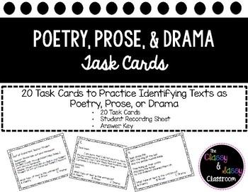 Poetry Prose Drama Task Cards