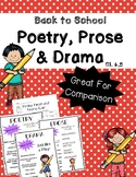 Poetry, Prose and Drama (RL 4.5) Back To School themed!