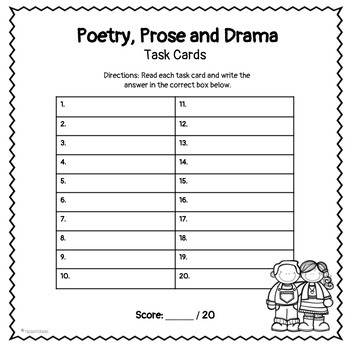 Poetry, Prose and Drama Task Cards RL 4.5