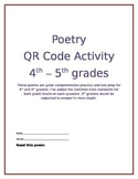Poetry QR Code Activity 4th or 5th Grade - Great Test Prep