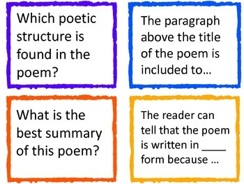 Poetry Question cards