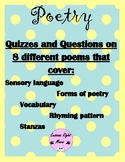 Poetry- Questions and quizzes for 8 different poems