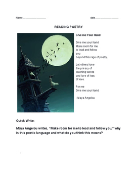 Poetry Quick Write assignment and close reading of Maya An