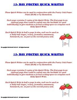 Poetry QuickWrites