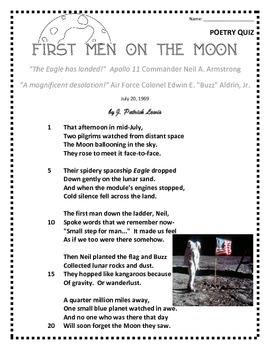 Poetry Quiz- First Men on the Moon