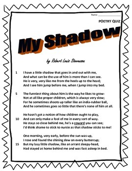 Poetry Quiz- My Shadow