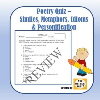 Poetry Quiz - Similes, Metaphors, Idioms & Personification