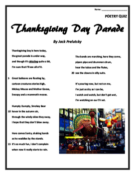 Poetry Quiz- Thanksgiving Day Parade
