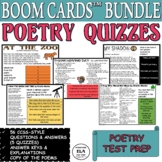 Poetry Quizzes Reading Comprehension Boom Cards Test Prep