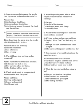 Poetry Reading Comprehension Passages