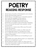 Poetry Reading Response Questions (for virtually any poem!)