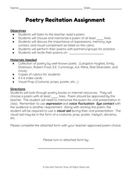 Poetry Recitation Assignment and Rubric