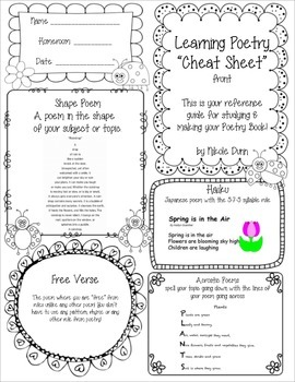 Poetry Reference Sheet / Study Guide