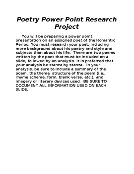 Poetry Research and Power Point Presentation Project