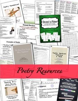 Poetry Bundle Writing, Reading, & Understanding Poetry