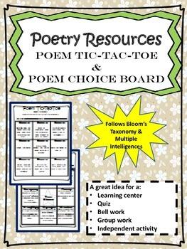 Poetry Resources: Poem Tic-Tac-Toe & Poem Choice Board