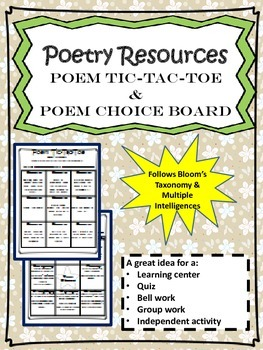 Poetry Resources: Poem Tic-Tac-Toe & Poem Choice Board