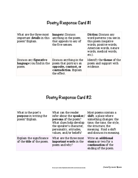Poetry Response Cards; Task Cards; Secondary ELA
