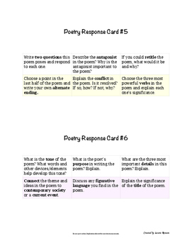 Poetry Task Cards; Poetry Response; Secondary ELA