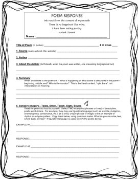 Poetry Response Form for Any Poem: Grades 6-10