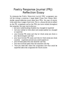 Poetry Response Journal Reflection Essay