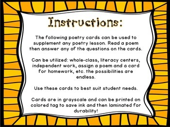 Poetry Response *Tarjetas para responder a la poesia*