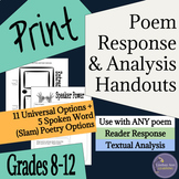 Poetry and Slam Poetry Close Reading Graphic Organizers fo