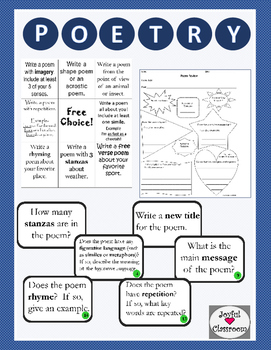 Poetry Pack with Task Cards & Writing Poetry Choice Board