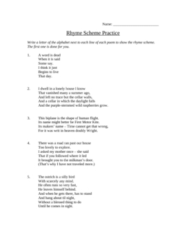 Rhyme Scheme and Rhetorical Devices Worksheet/Study Guide ...