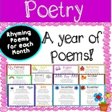 Poetry: Rhyming Poem Posters for Each Month of the Year